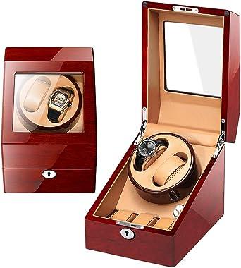 SXM De Madera Caja giratoria Caja para Relojes automatico, for Reloj de Pulsera 2 + 3 Relojes Estuche de enrollamiento Giros de rotación Ultra silenciosos, Estuche de exhibición de Almacenamiento: Amazon.es: Relojes