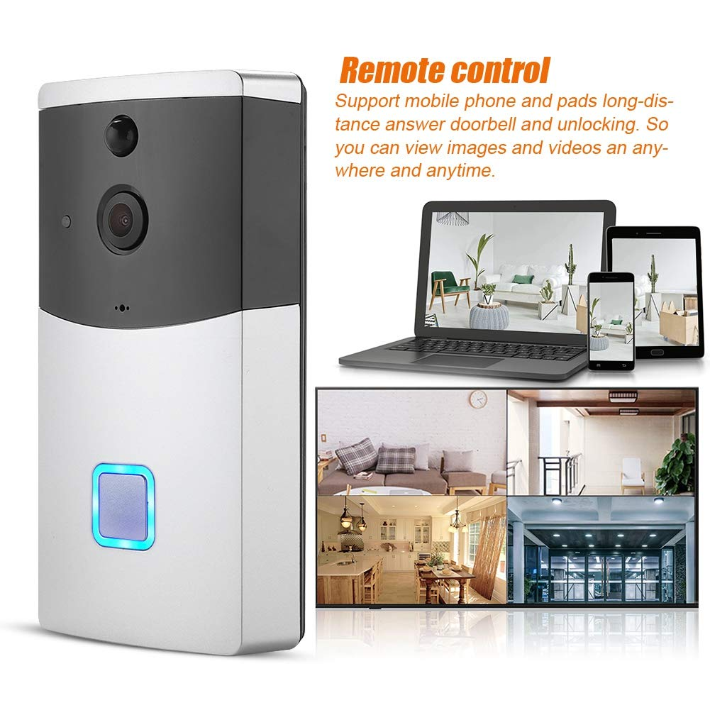 Kafuty Video Doorbell WiFi WiFi Door Viewer HD 720P con 6 LED de PC C/ámara de Seguridad PIR Visi/ón Nocturna por Infrarrojos 145 Grados Gran Angular con aplicaci/ón Control Remoto