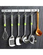 Ecooe Haaklijst met 6 haken, roestvrij staal, garderobehaken, kledinghaken, roestvrij staal, voor badkamer en keuken