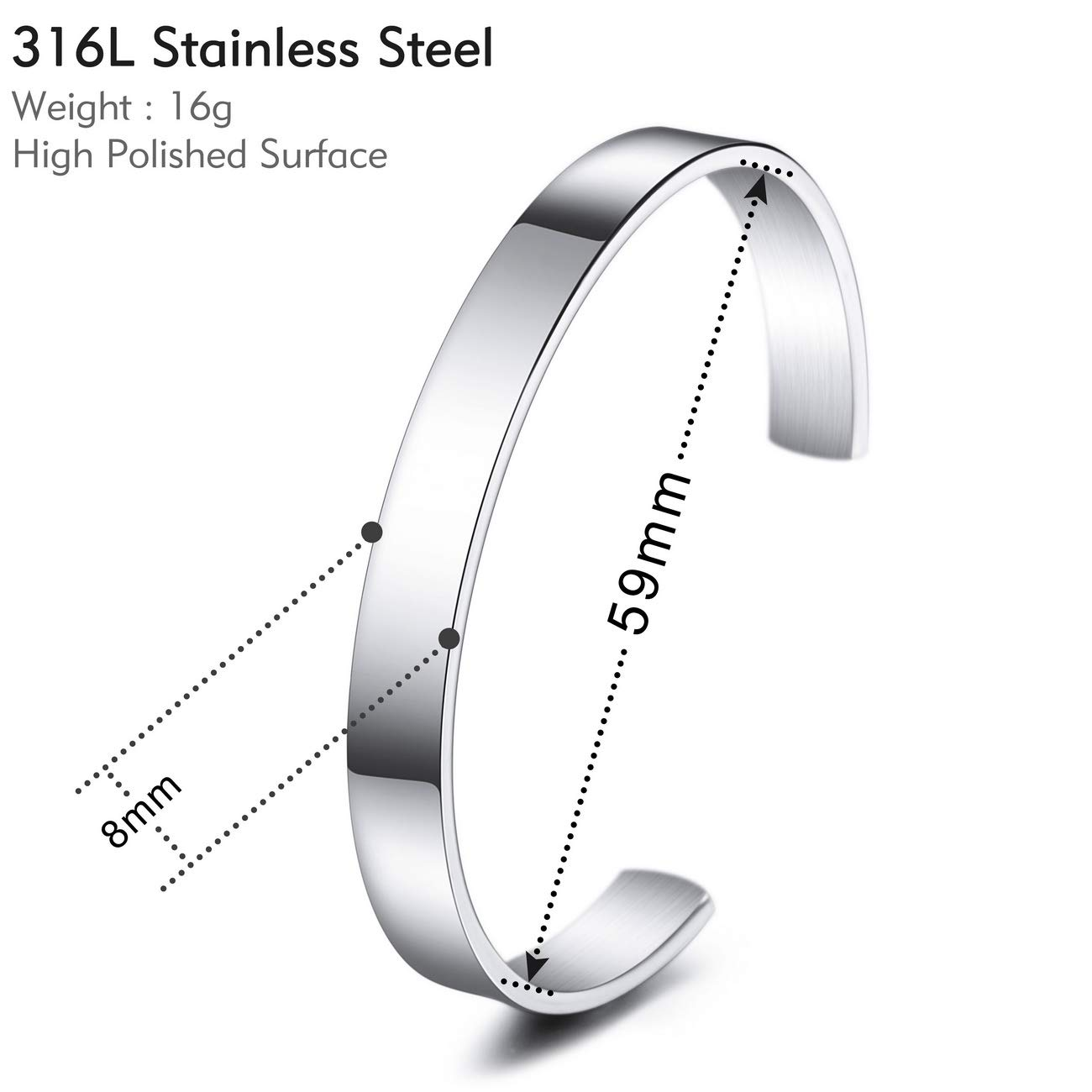 8mm Wide, Small and Large Sizes MeMeDIY Personalized Bracelet Engraving Name Identification ID Customized for Men Women Girls Water Resistant Stainless Steel Adjustable Cuff Bangle