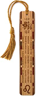 product image for Personalized Leo Zodiac Sign Artwork and Positive Personality Traits Engraved Wood Bookmark with Inlays and Tassel