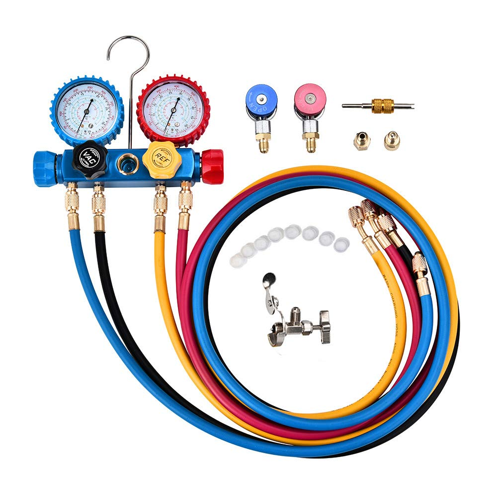 LQKYWNA Adjustable 4 Way Diagnostic Manifold Gauge Set Air Condition Tool for R134A, R410A and R22 Refrigerants with Hoses, Adaptors, Couplers and Wrench by LQKYWNA