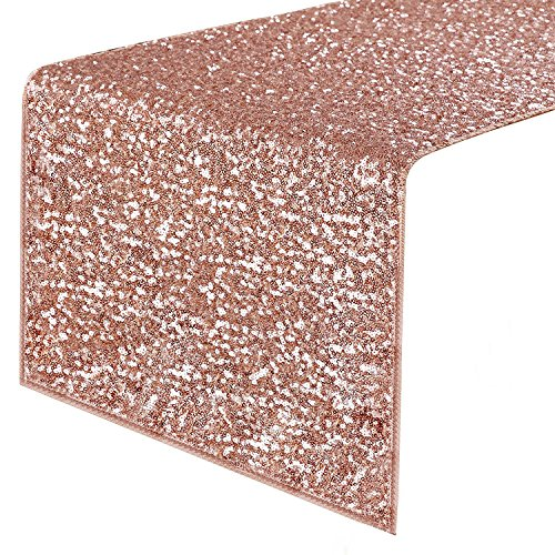 PONY DANCE Sequins Table Runner - Decorative Sparkling Table Runner with Premium Quality for Christmas/Party/Wedding/Birthday Banquet Decoration, 14