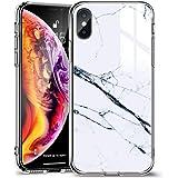 ESR iPhone Xs Max ケース 6.5インチ 強化ガラス 9H硬度加工 ガラスケース 薄型 TPUバンパー 滑り止め 全面保護 ストラップホール付き 指紋防止 耐衝撃 ワイヤレス充電対応 ネイキッド(大理石・ホワイト)