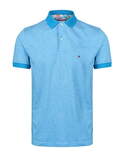c46c1085a8c27 Tommy Hilfiger Tropical Print Under Collar Polo Shirt in Turquoise   Amazon.co.uk  Clothing