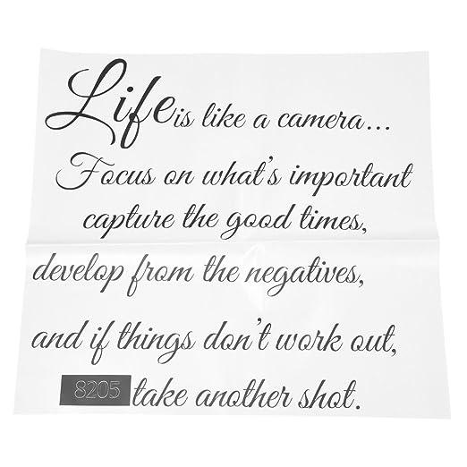 SODIAL(R) La vida es como una camara -Tatuajes de pared cita en el ...