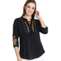 Mitaha Women Girls Top/Short Tunics Embroidered Rayon Cotton Black Blue White Red Top for Casual Women/Girls Tops