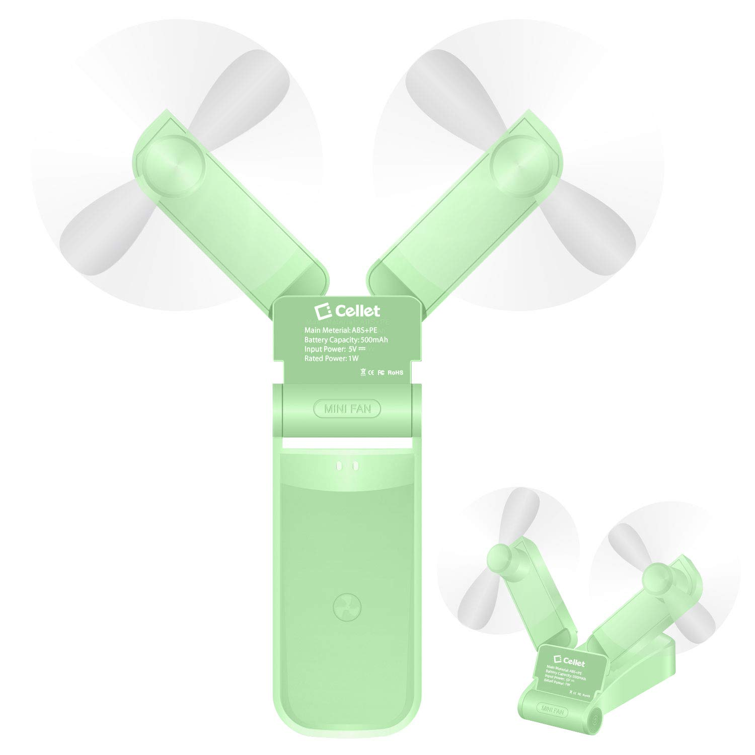 Cellet 2-In-1 Portable Handheld Mini Fans Two Speed Air Cooling USB Rechargeable Lightweight Ideal for Home, Office Amusement Park, Summer, Travel, Hiking, Running and other Outdoor Activities Green