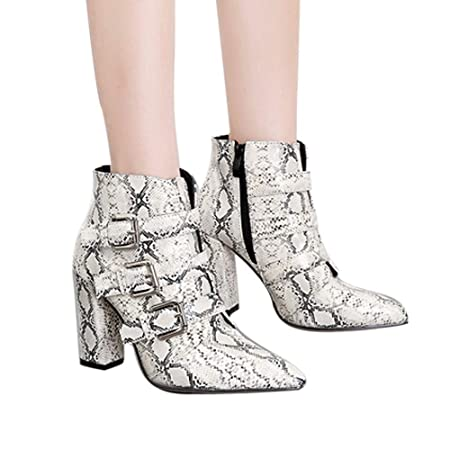 Amazon.com: Clearance for Shoes,AIMTOPPY Women Snakeskin Pattern Toe Zip Belt Buckle Thick Pointed Booties: Computers & Accessories