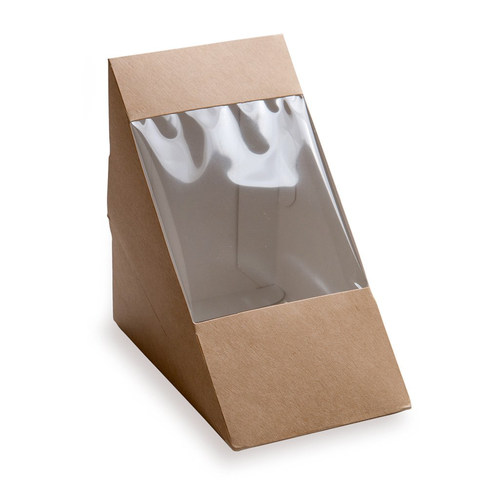 Large Sandwich Wedge Box, Sandwich Take Out Box - 4.8'' x 3.2'' Triangle Sandwich Box with Window - Brown - 200ct Box - Restaurantware by Restaurantware (Image #1)