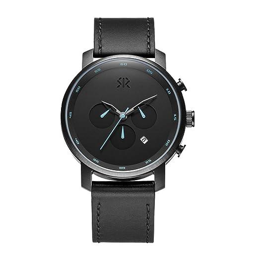 ROSHT Reloj Cronógrafo para Hombre Banda de Cuero Negro, Mano Azul, Dial Negro, G185003BK: Amazon.es: Relojes