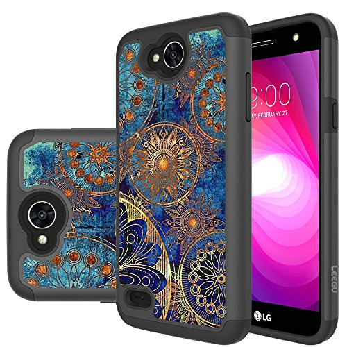 For LG X Charge Case, LG Fiesta LTE Case, LG X Power 2 (2017) Case, LG K10 Power Case, LEEGU [Shock Absorption] Dual Layer Heavy Duty Protective Silicone Plastic Cover Rugged Case – Gear Wheel