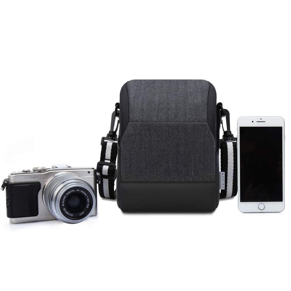 CAISON Funda Bolsa con PU Cuero para C/ámara sin Espejo Canon EOS M100 M10 Nikon B500 B700 Sony HX350 A6000 A6300 A6500 A5100 A7 FUJIFILM X-T20