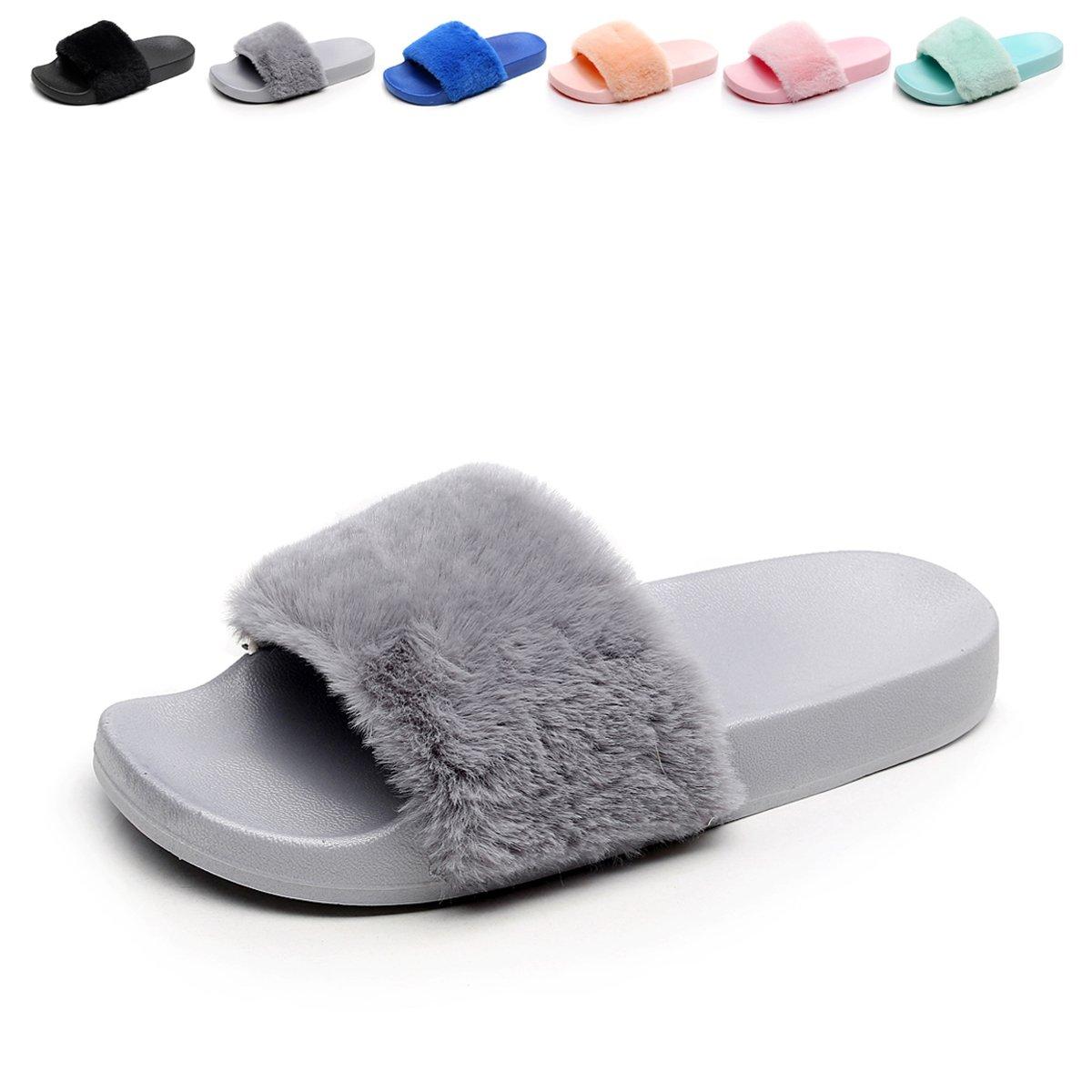 f41e613cd5655 HAVINA Women's Faux Fur Slippers Soft Slide Flat Flip Flops