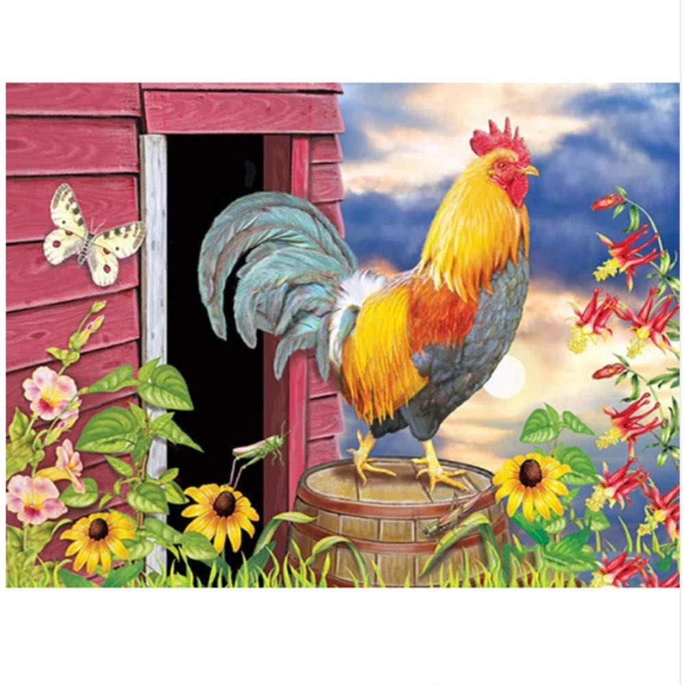 Malen Nach Zahlen Für Erwachsene Hahn Blaumen Schmetterling DIY Home Decor-Framed B07Q6VDLS2 | Bestellungen Sind Willkommen