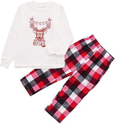 POLP Niño Pijamas Navidad Familia Conjunto Pantalon y Top ...
