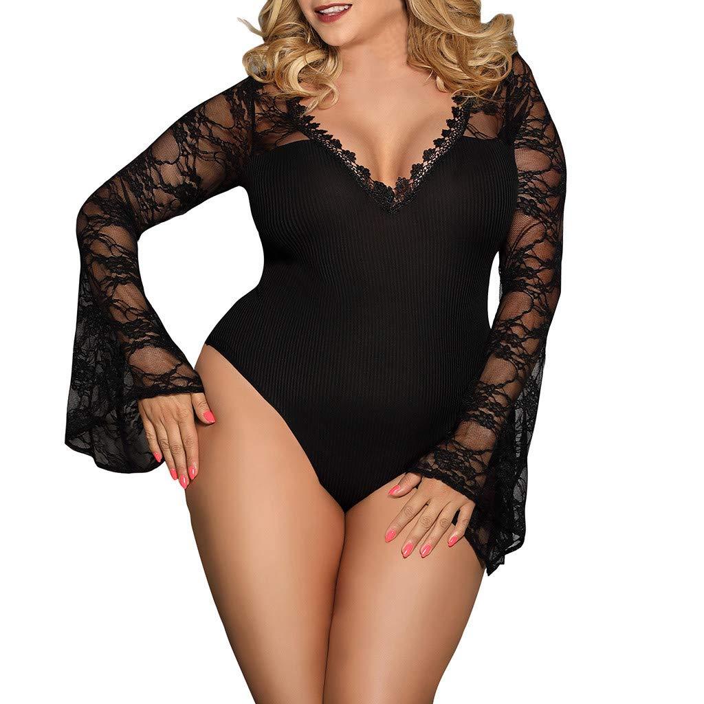 Alalaso Women Lingerie Sexy Nightie Sleepwear Lace Babydoll bodysuit Set