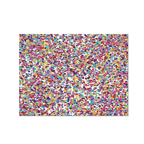 C COABALLA Fiesta Heat Resistant Table Mat,Round Rainbow Colored Confetti Pattern Celebratory Festive Illustration Abstract for Dining,15.7
