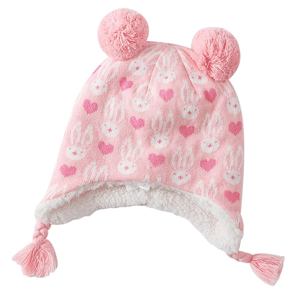 E.mirreh Baby Warm Earflap Hat Girl Rabbit and Heart Pom