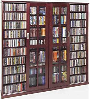 Leslie Dame MS 1400DC Mission Style Multimedia Storage Cabinet With Sliding  Glass Doors, Cherry