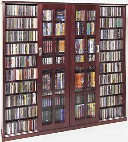 Beau Leslie Dame MS 1400DC Mission Style Multimedia Storage Cabinet With Sliding  Glass Doors, Cherry