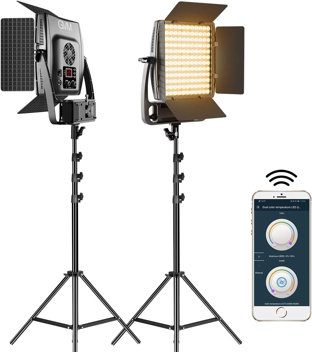 GVM LED Video Light with Optical Lens and Light Stands, 2 Packs Video Lighting with APP Control and Dimmable Bi-Color, 100W Photography Lighting Kits for YouTube Videos, 3200K-5600K, CRI 97+