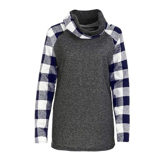 Camiseta de Mujer Primavera, EUZeo, Blusas de Manga Larga Pullover Casual Estampado de Cuadros Camiseta Verano Fiesta Tops Elegantes Suéter T-Shirts Deporte ...