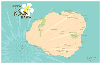 picture relating to Printable Map of Kauai identified as : Kauai Turquoise Basic-Style and design Map Artwork Print