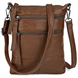 UTO Women Small Crossbody Bag Roomy Multi Pockets Cell Phone iPad-Mini Kindle Holder Shoulder Purse Wallet Bags Brown
