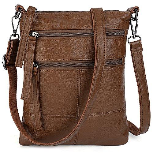 UTO Women Small Crossbody Bag Roomy Multi Pockets Cell Phone iPad-Mini Kindle Holder Shoulder Purse Wallet Bags Brown
