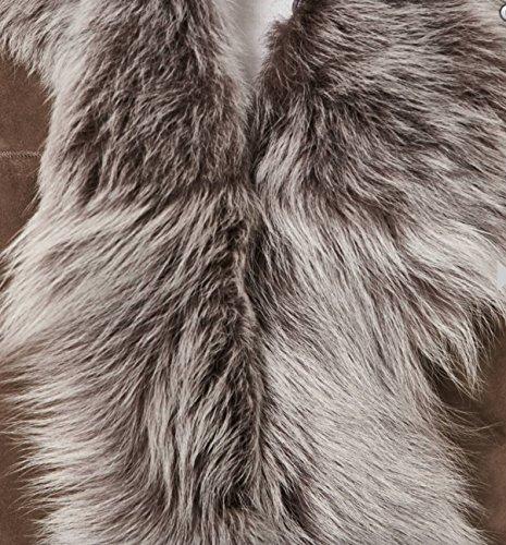 oveja oveja Calentador Chaleco Silvertip Tama mangas chaleco cadera de de Beige Mujeres ante sin Lona o de piel de con Taupe de Z8W0wqvP