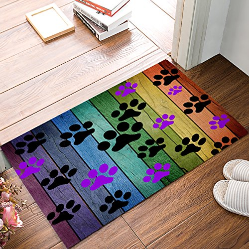 Funny Door Mat Colorful Woodgrain Footprints Doormat Entrance Front Entry Way Door Rug Indoor/Outdoor Bathroom/Kitchen/Bedroom/Entryway Floor,Non-Slip with Rubber Backing,Easy Clean 15.7x 23.6inch