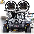 7 Inch LED Halo Ring Headlight + 4 Inch Fog Light Angel Eye White DRL Hi/Lo Beam Amber Turning Signal for Jeep Wrangler JK 2 Door/4 Door - 2 Year Warranty
