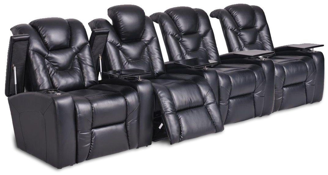 SeatCraft Naples Home Theater with Power Recline, Tables, Row of 4, Black