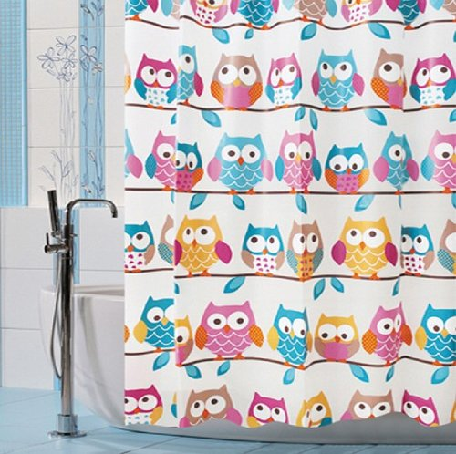 Fashion Design High qulity 71x71 OWL pattern Shower Curtain + set of 12 unbreakable shower curtain hooks by FashionBoutique