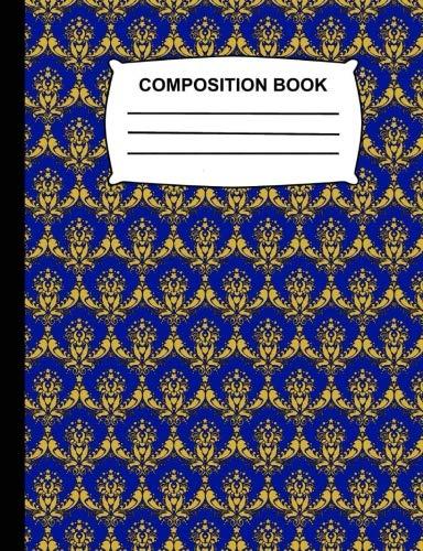 Composition Book: Sketchbook for kids - Unruled Blank Sketch Paper - Blue & Gold Damask soft cover Notebook for school, Journal for women and girls