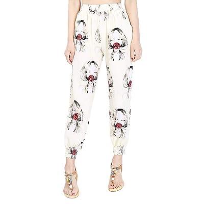 BOLAWOO Pantalones De Yoga Casual para Mujer Bolsillos Estampado Fiesta Estilo Laterales Estampados Bloomers Largos Cintura Elástica Pantalones Harem (Color : Farbe# P, Size : 2XL): Ropa y accesorios