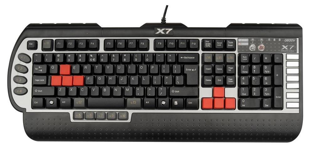 A4Tech X7-G800V-DE - Teclado (USB, PC/server, Juego, Negro, Plata, 1 piezas): Amazon.es: Informática