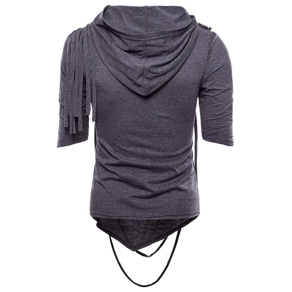 Ratoop Fashion Mens Summer Casual Slim Hoodie Hip Hop Short Sleeve T Shirt Top Blouse