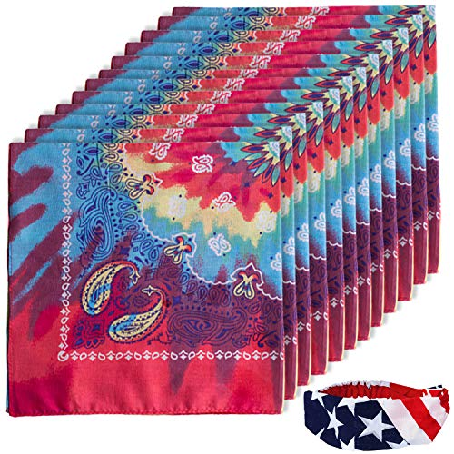 CoverYourHair Paisley Bandanas - 12 Pack Bandanas - Bandanas with American Flag Headband (12 Pack Tie Dye Bandanas with American Flag -
