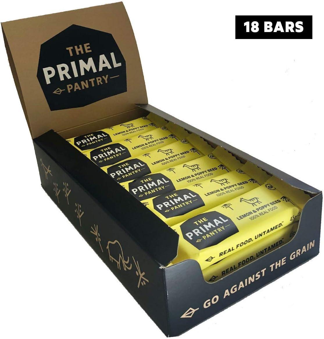 The Primal Pantry Barritas (Semilla De Limón Y Amapola) - sin azúcar añadido, sin gluten, 100% Natural, Vegano, Paleo 45g x 18