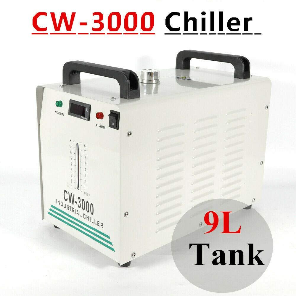 WUPYI2018 Enfriador de Agua Industrial CW-3000 CO2 Grabado l/áser de Tubo de refrigeraci/ón 9L Enfriador de Agua Industrial para Grabado CNC