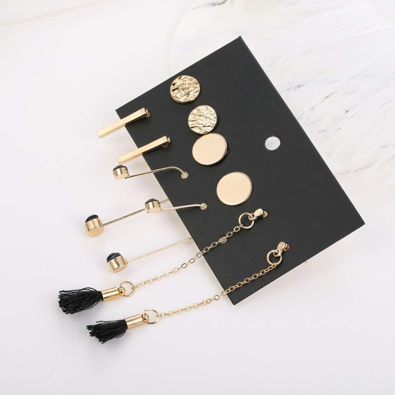 5 Pairs//Set Geometric Round Metal Gold Stud Earrings Set For Women Chain Long Tassel Earring Mixeds