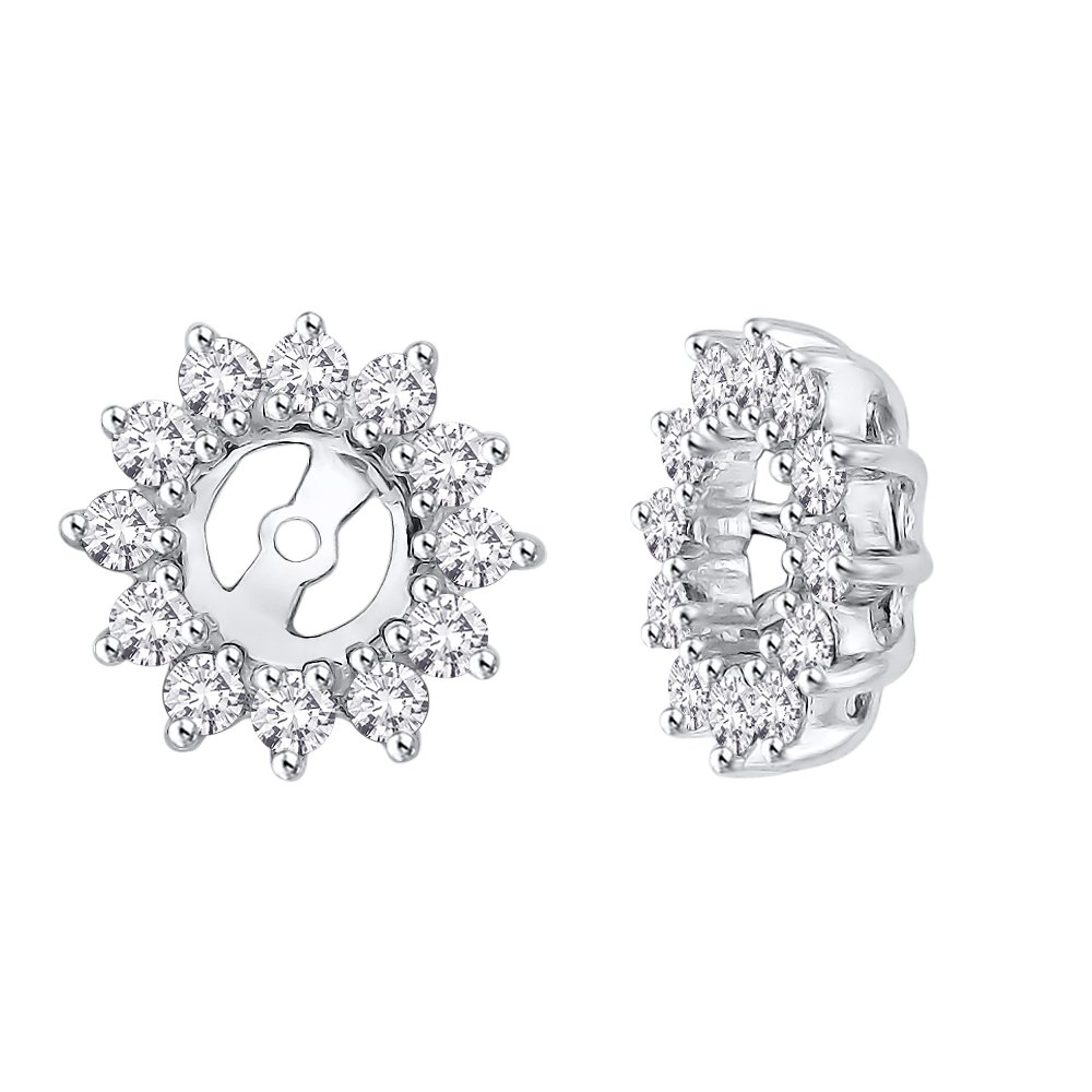 KATARINA Floral Diamond Earring Jackets in 14K White Gold (1/2 cttw) (Color JK, Clarity I2-I3)