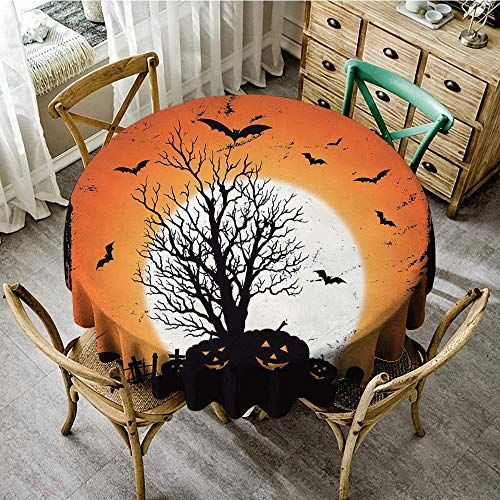DONEECKL Polyester Tablecloth Vintage Halloween Grunge Halloween Image with Eerie Atmosphere Graveyard Bats Pumpkins Picnic D67 Orange Black -
