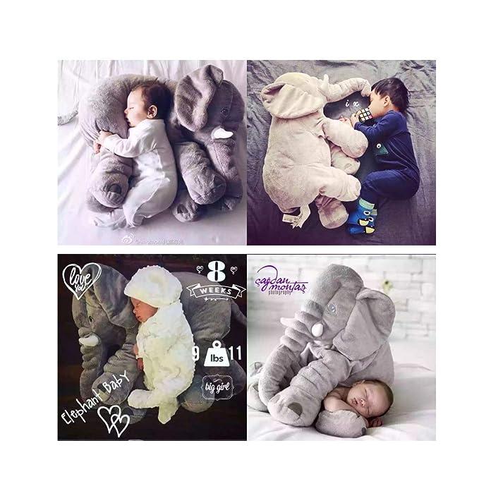 AOTE-E Almohada De Elefante (Juguetes para Bebés) / Almohada De Felpa Rellena De Elefante Almohada para Dormir Almohada De Juguete para Ni?os (Gris) 60CM ...