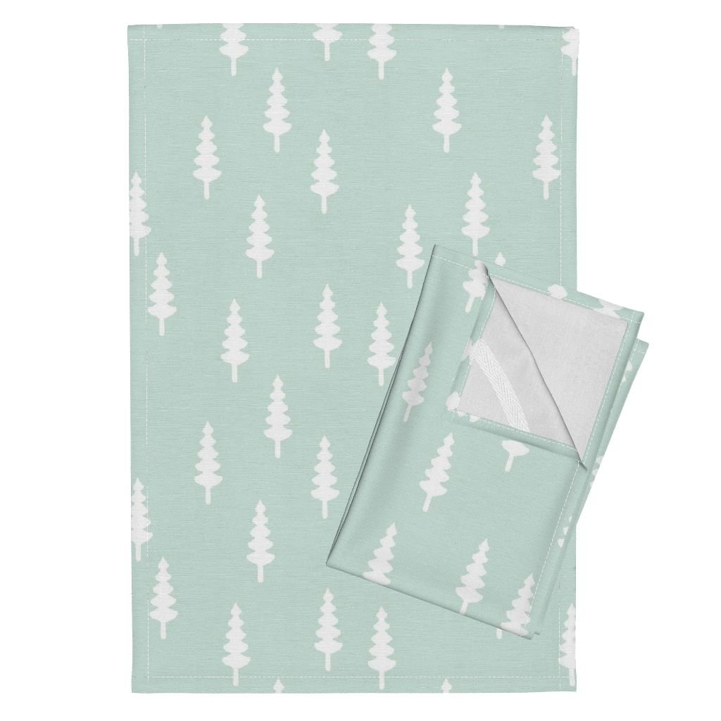Roostery Trees Mint Little Arrow Design Forest Woods Mint Green Woodland Tea Towels Tree On Mint by Littlearrowdesign Set of 2 Linen Cotton Tea Towels