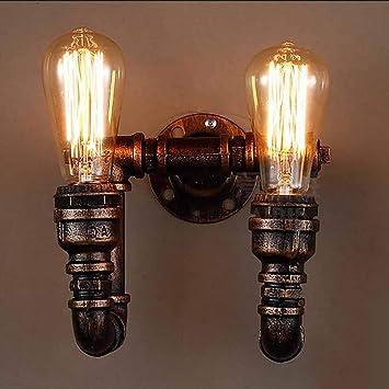 Lámpara de pared de tubería de agua vintage, Metal 2 Retro Lámpara de pared industrial