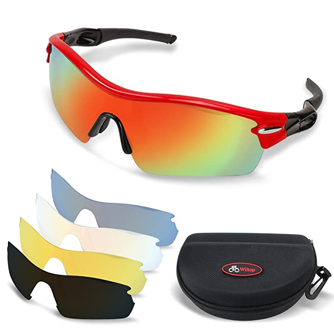 5463207b1d1e Wiltop Sports Sunglasses Unisex Polarized Cycling Glasses with 5 Colour  Lenses Men Cycling Running Fishing Sports Outdoors Glasses Eyewear (Red  Plus)  ...