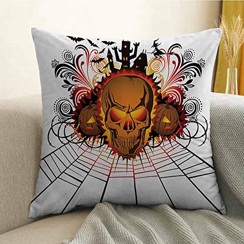 (FreeKite Halloween Printed Custom Pillowcase Angry Skull Face on Bonfire Spirits of Other World Concept Bats Spider Web Design Decorative Sofa Hug Pillowcase W16 x L24 Inch)